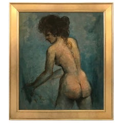 Mid-20th Century Oil on Board Painting of Profile of Woman, Dated 1965