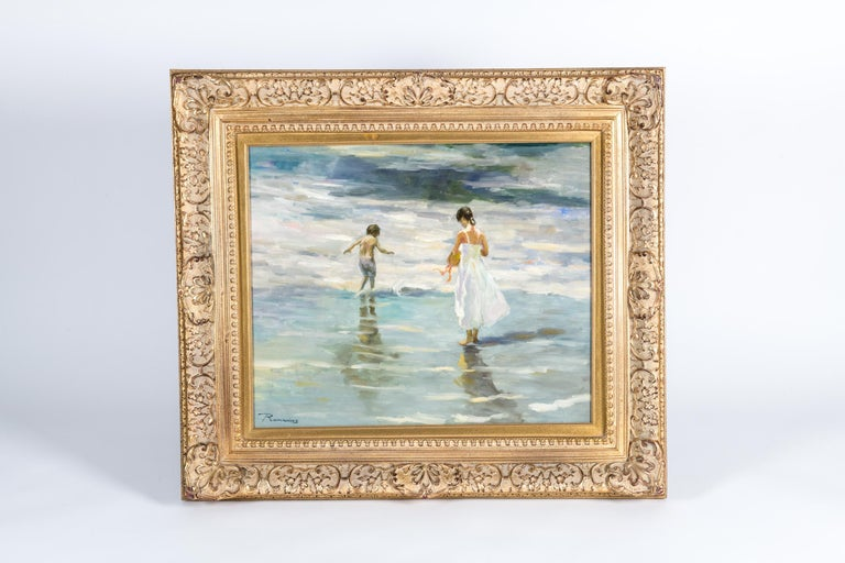 Mid-20th Century Oil On Canvas Painting or Giltwood Frame For Sale 8