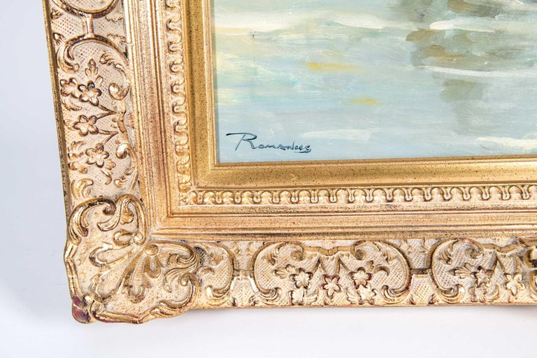 Mid-20th Century Oil On Canvas Painting or Giltwood Frame For Sale 4