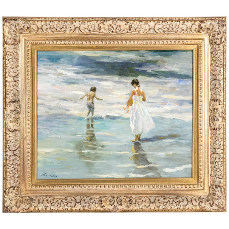 Mid-20th Century Oil On Canvas Painting or Giltwood Frame For Sale