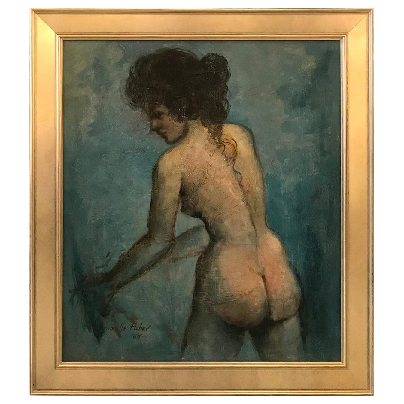 Mid-20th Century Oil Painting on Board Nude
