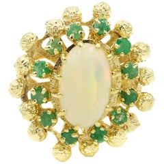 Mid-20th Century Opal Emerald Textured Gold Ball Cluster Ring