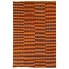 Mid-20th Century Orange and Black Turkish Flat-Weave Kilim Room Size Accent Rug