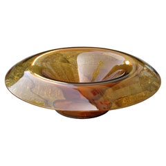 Mid-20th Century Orange Glass Centerpiece Bowl