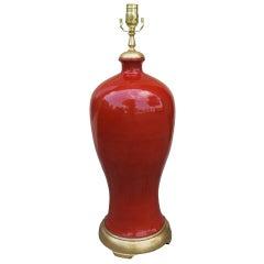 Mid-20th Century Orange Porcelain Lamp