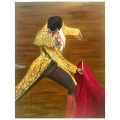 "Mid-20th Century Original Oil on Canvas Painting ""Matador"" by, Nestor"