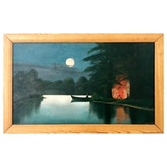 Mid-20th Century Original Oil on Masonite Painting By R. Voorhees
