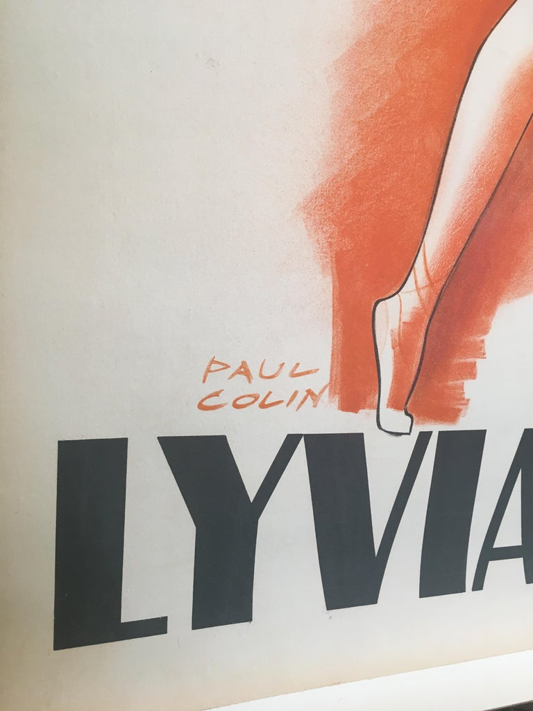 Art Deco Mid-20th Century Original Vintage French Poster, 'Lyvia Holos' by Jean Colin For Sale