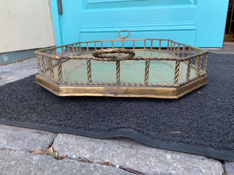 Mid-20th Century Oval Brass Tray with Rope Detail For Sale 7