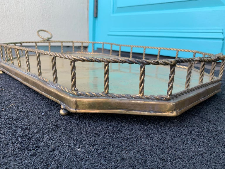 Mid-20th Century Oval Brass Tray with Rope Detail For Sale 8