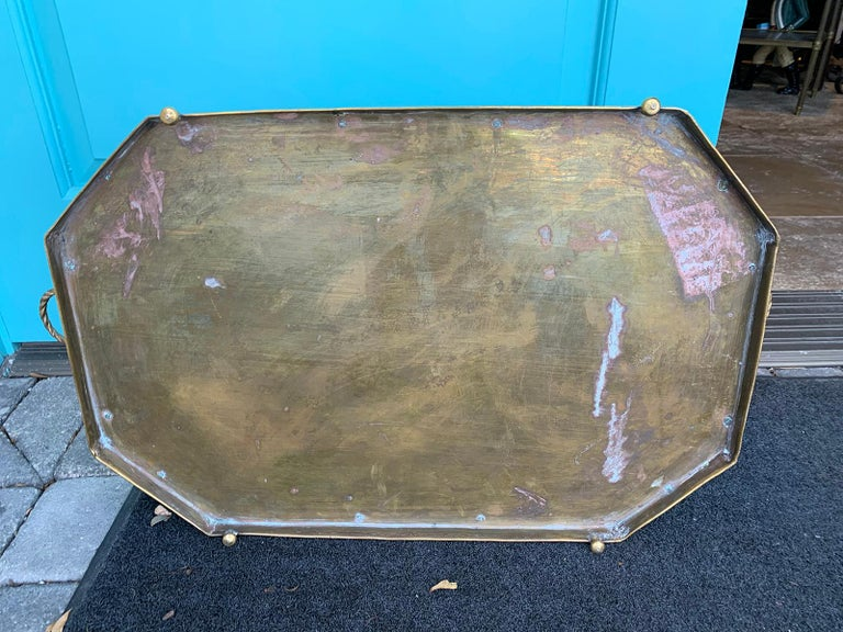 Mid-20th Century Oval Brass Tray with Rope Detail For Sale 4