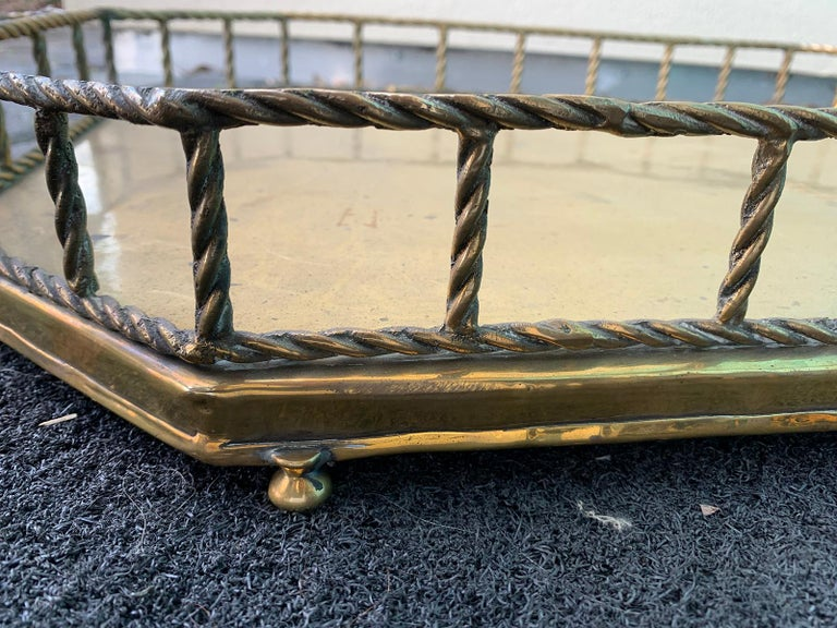 Mid-20th Century Oval Brass Tray with Rope Detail For Sale 6