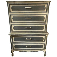 Mid-20th Century Painted Grey and Charcoal Highboy Dresser with Chrome Hardware