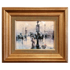 Mid-20th Century Painted on Tole Paris Street Scene in Gilt Frame Signed Palmer