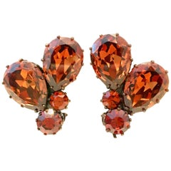 Mid-20th Century Pair Of Austrian Crystal Earrings-Signed