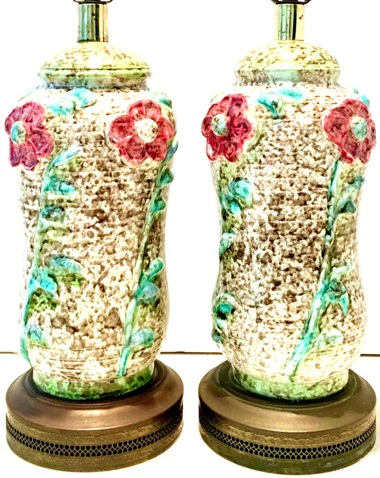Art Nouveau Mid-20th Century Pair of Ceramic Glaze and Gilt Brass Floral Table Lamps For Sale