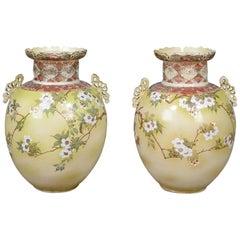 Mid-20th Century Pair of Chinese Baluster Vases, Ceramic Urns