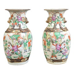 Mid-20th Century Pair of Chinese Baluster Vases, Painted, Ceramic, Urns