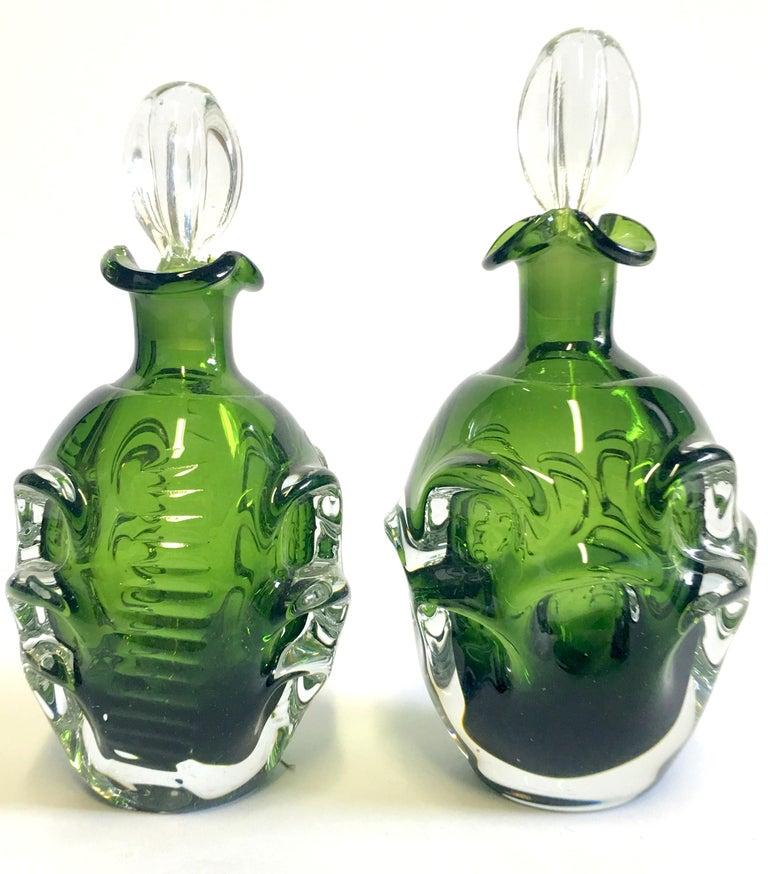 Mid-Century Modern Mid-20th Century Pair of Crystal Swedish Liquor Decanters by Bo Borgstrom-Aseda For Sale