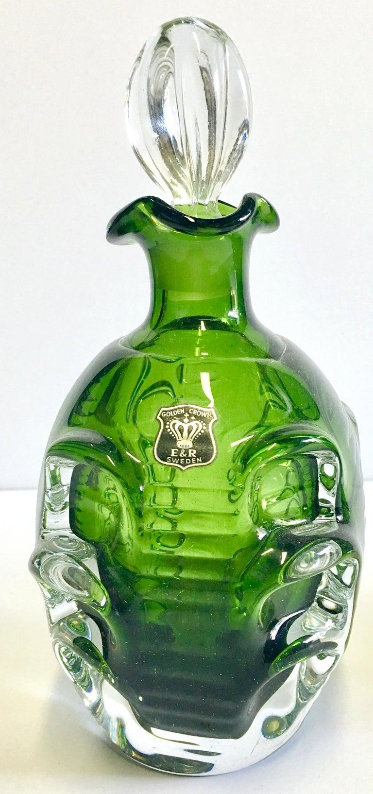 Mid-20th Century Pair of Crystal Swedish Liquor Decanters by Bo Borgstrom-Aseda For Sale 2
