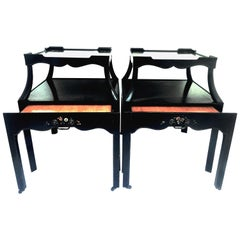 Mid-20th Century Pair of Ebonized Wood Hand Painted Rolling Two-Tier Side Tables