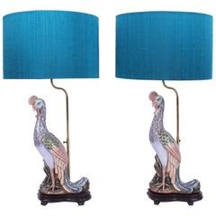 Mid-20th Century Pair of French Blue Ceramic Exotic Bird Lamps