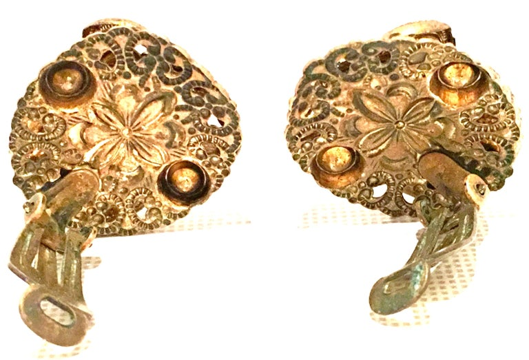 Mid-20th Century Pair Of German Vermeil & Molded Glass Earrings-Signed For Sale 6