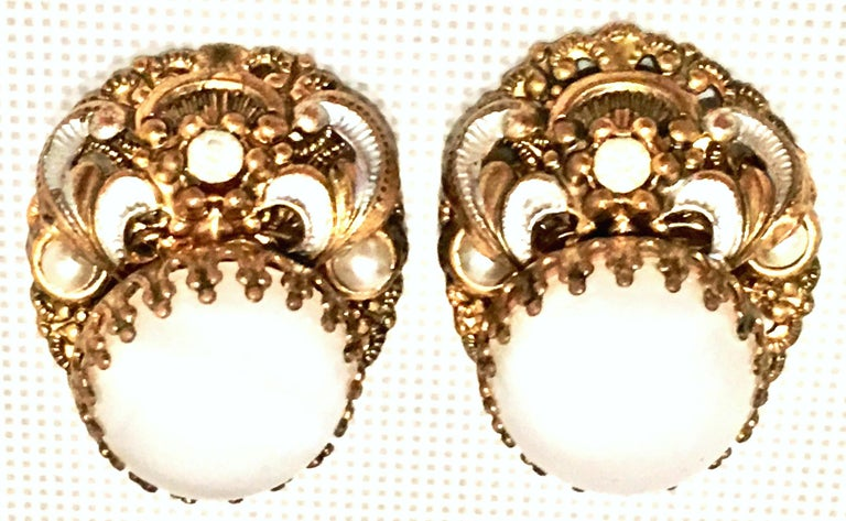 Art Nouveau Mid-20th Century Pair Of German Vermeil & Molded Glass Earrings-Signed For Sale