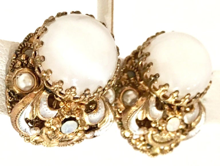 Women's or Men's Mid-20th Century Pair Of German Vermeil & Molded Glass Earrings-Signed For Sale