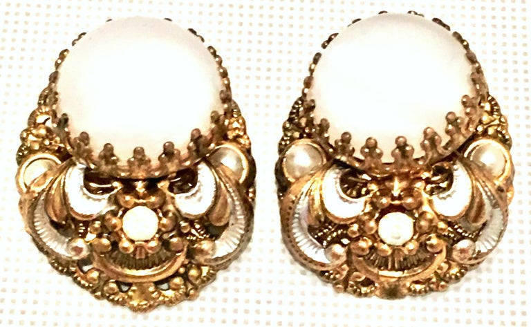Mid-20th Century Pair Of German Vermeil & Molded Glass Earrings-Signed For Sale 1