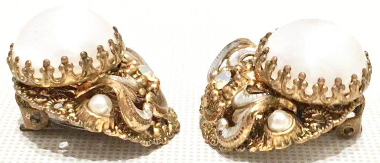 Mid-20th Century Pair Of German Vermeil & Molded Glass Earrings-Signed For Sale 2