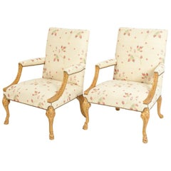 Mid-20th Century Pair of Giltwood Frame George II Style Armchairs