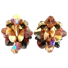"""Mid-20th Century Pair Of Gold & Amber Austrian Crystal Bead """"Cluster"""" Earrings"""