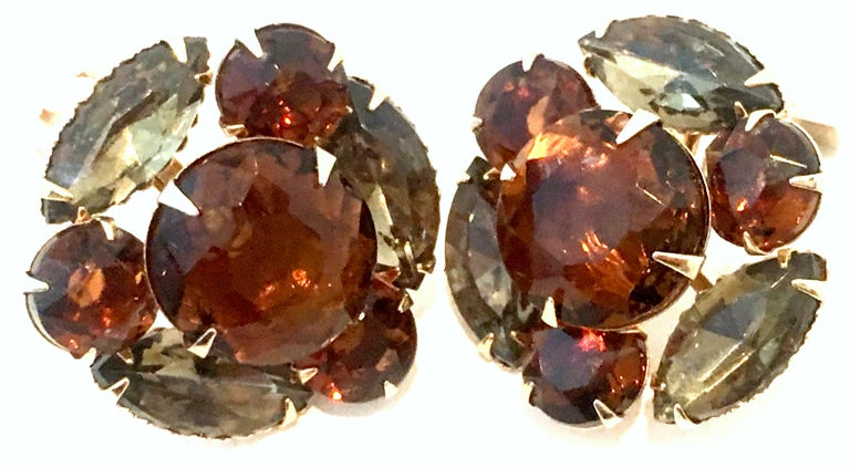 Women's or Men's Mid-20th Century Pair Of Gold & Austrian Crystal Earrings For Sale