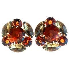 Mid-20th Century Pair Of Gold & Austrian Crystal Earrings