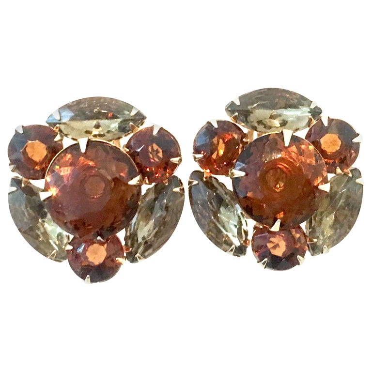 Mid-20th Century Pair Of Gold & Austrian Crystal Earrings For Sale