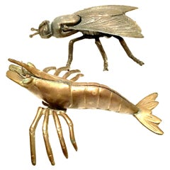 Mid-20th Century Pair of Iron & Brass Figural Fly & Shrimp Sculpture and Box