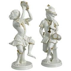 Mid 20th Century Pair of Italian Singerie Porcelain Monkey Musicians