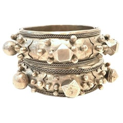 Mid-20th Century Pair Of Old Silver Rajasthan Tribal Style Clamper Bracelet 's