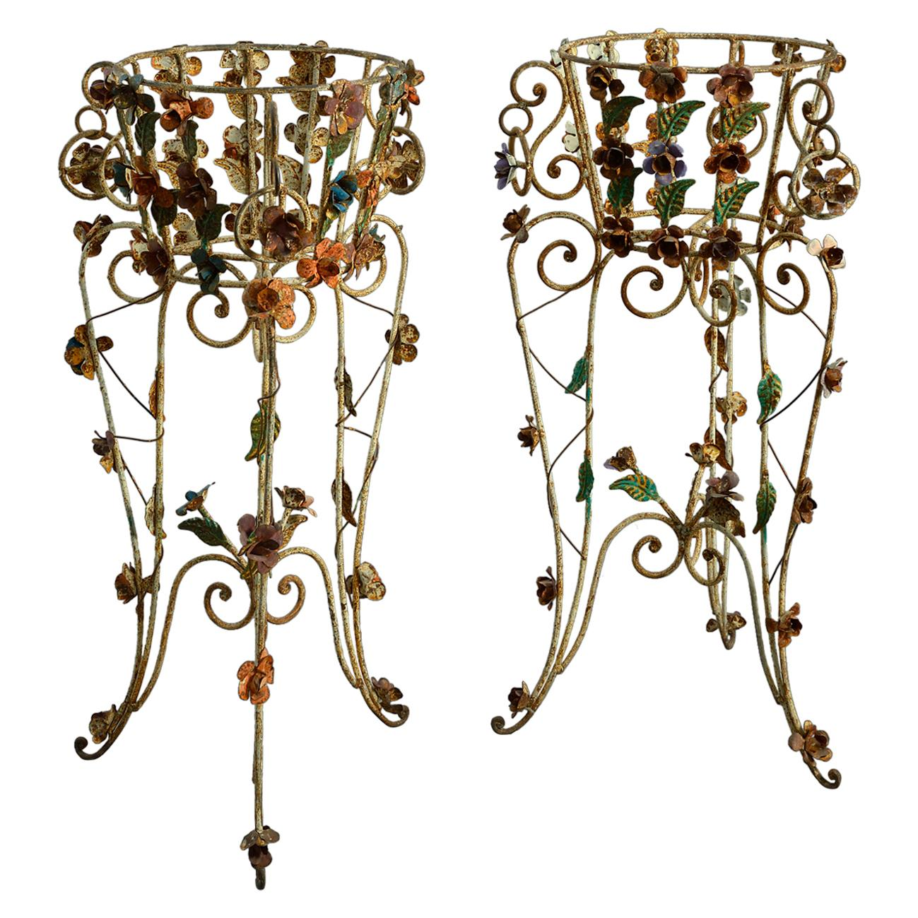Mid 20th Century Pair of Polychrome Painted Iron Jardinière Stands
