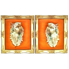 Mid-20th Century Pair of Porcelain Bisque Mounted Sculptual Wall Hangings