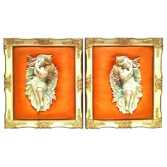 Mid-20th Century Pair of Porcelain Bisque Mounted Sculptural Wall Hangings