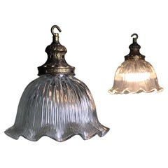 Mid-20th Century Pair of Prismatic Glass Pendants Lights with Gilt Galleries