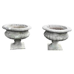 Mid 20th Century Pair of Weathered Cast Stone Garden Planters