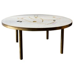 Mid-Century Modern Pale Grey Mosaic Table with Gold and Lilac Accents, Germany