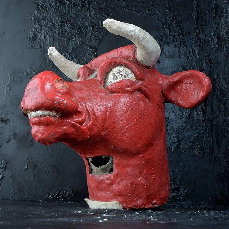 Paper Mid-20th Century Papier Mache Bull Carnival Mask For Sale