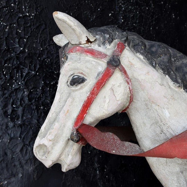 Hand-Crafted Mid-20th Century Paris Hand Made Papier Mache Theatre Horse Figure For Sale