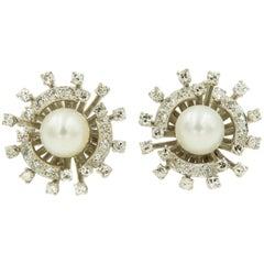 Mid-20th Century Pearl Diamond White Gold Cluster Clip Earrings
