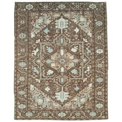 Mid-20th Century Persian Heriz Rustic Room Size Carpet in Brown and Light Blue