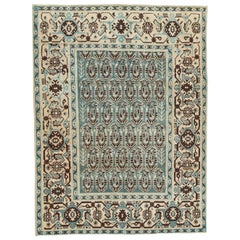 Mid-20th Century Persian Malayer Accent Rug in Green, Cream, and Blue-Grey
